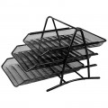 DELI 9181 鐵絲網三層文件架(黑色)