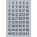 HERMA 4134 數字貼紙(銀底黑字) 1-100
